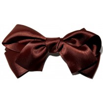Large Satin Bow Clip Brown