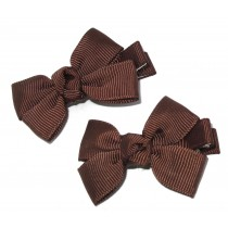 Small Grosgrain Bows Brown