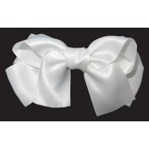 Large Satin Bow Clip White