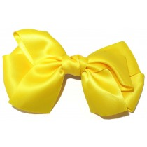 Large Satin Bow Clip Yellow