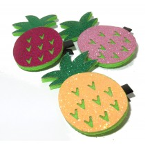 Pineapple Glitter Clip Pair