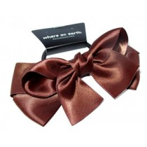Large Satin Bow Tie Brown